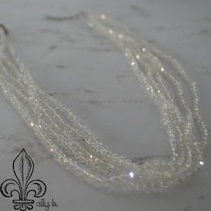 Five strand clear Swarvoski crystal necklace